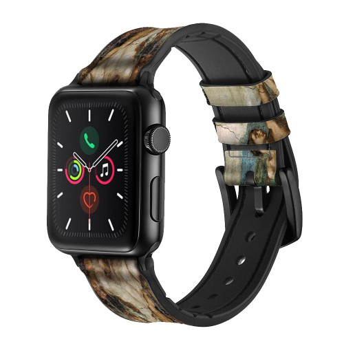 CA0018 Michelangelo Creation of Adam Leather & Silicone Smart Watch Band Strap For Apple Watch iWatch