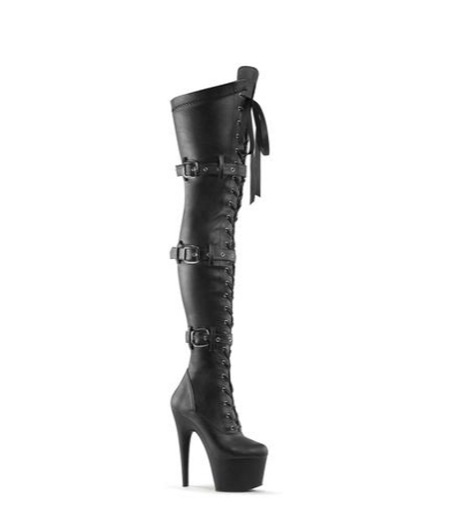 "Adore Thigh High Matt  7"" Black Boot"