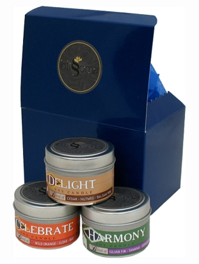Tin Candle Aromatherapy Gift Trio - Celebrate, Delight, Harmony