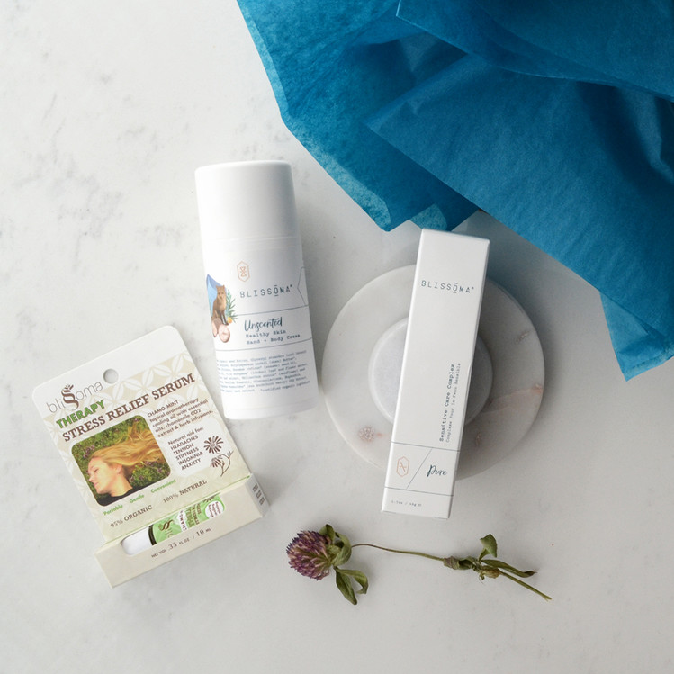 Blissoma holiday support gift set trio of soothing products