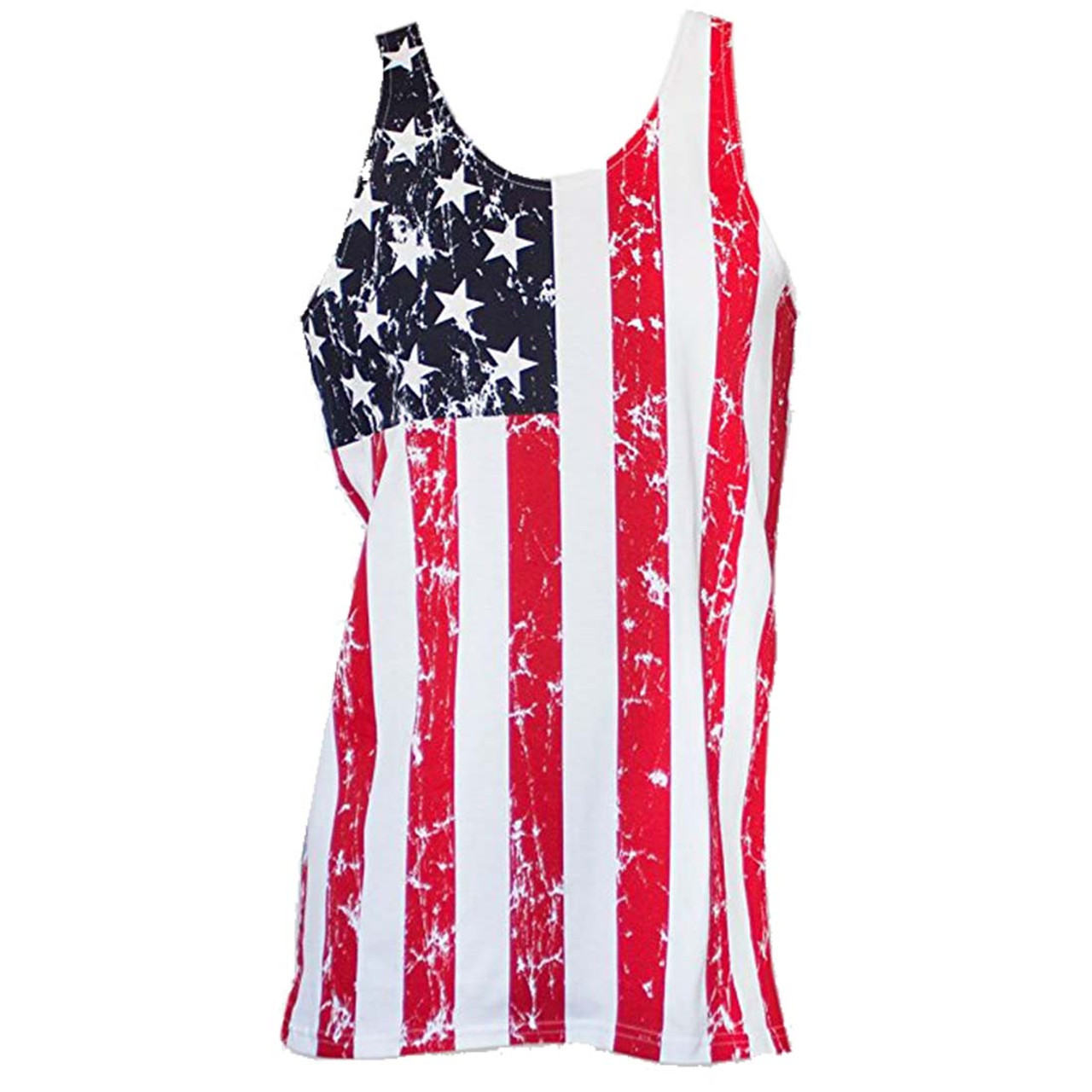 Red White And Blue America Patriot Stars Stripes Military Flag USA Mens Tank Top