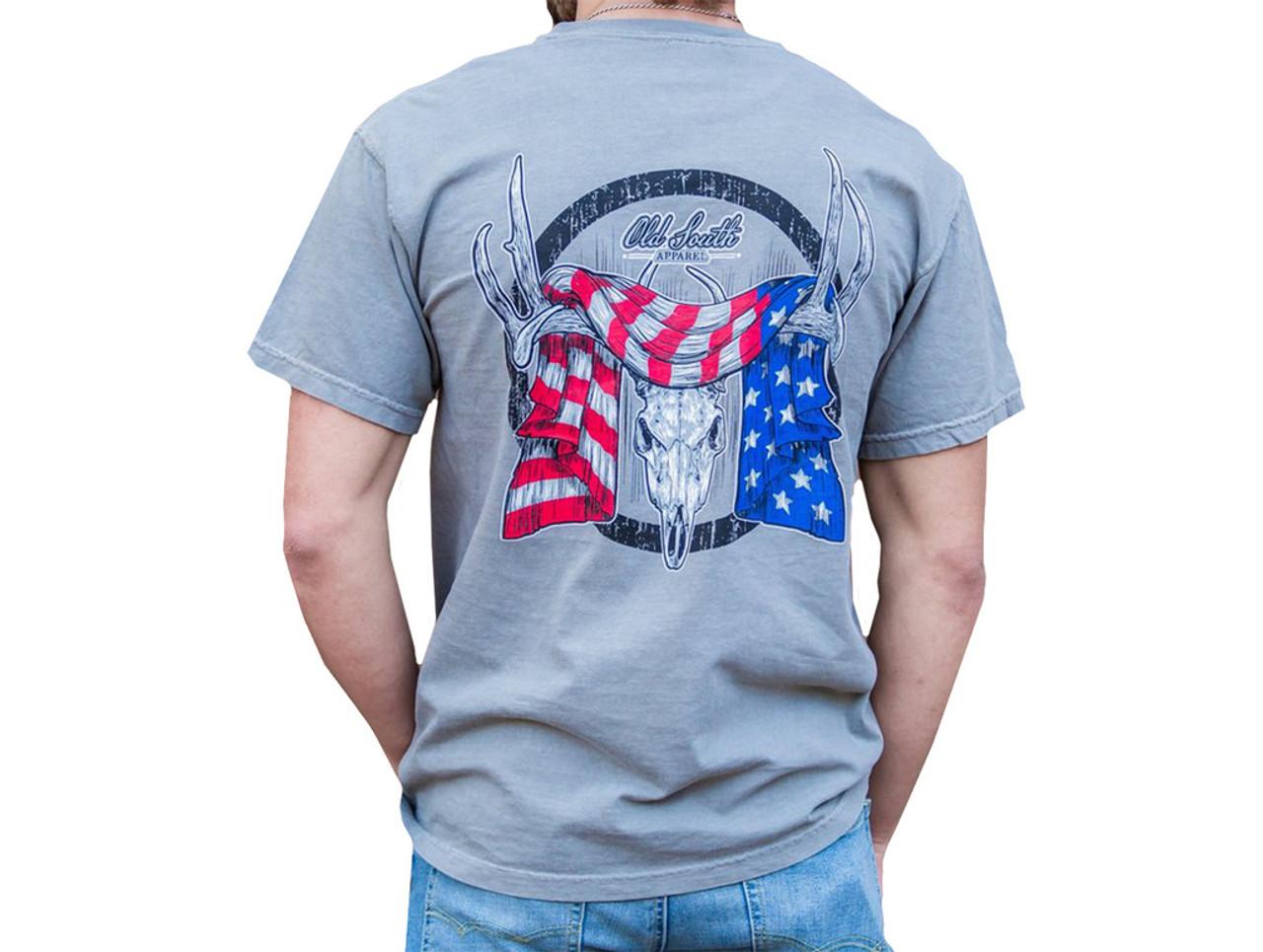 8caa508e7 Old South Deer Antlers Flag Comfort Color Short Sleeve T-shirt - Trenz Shirt  Company