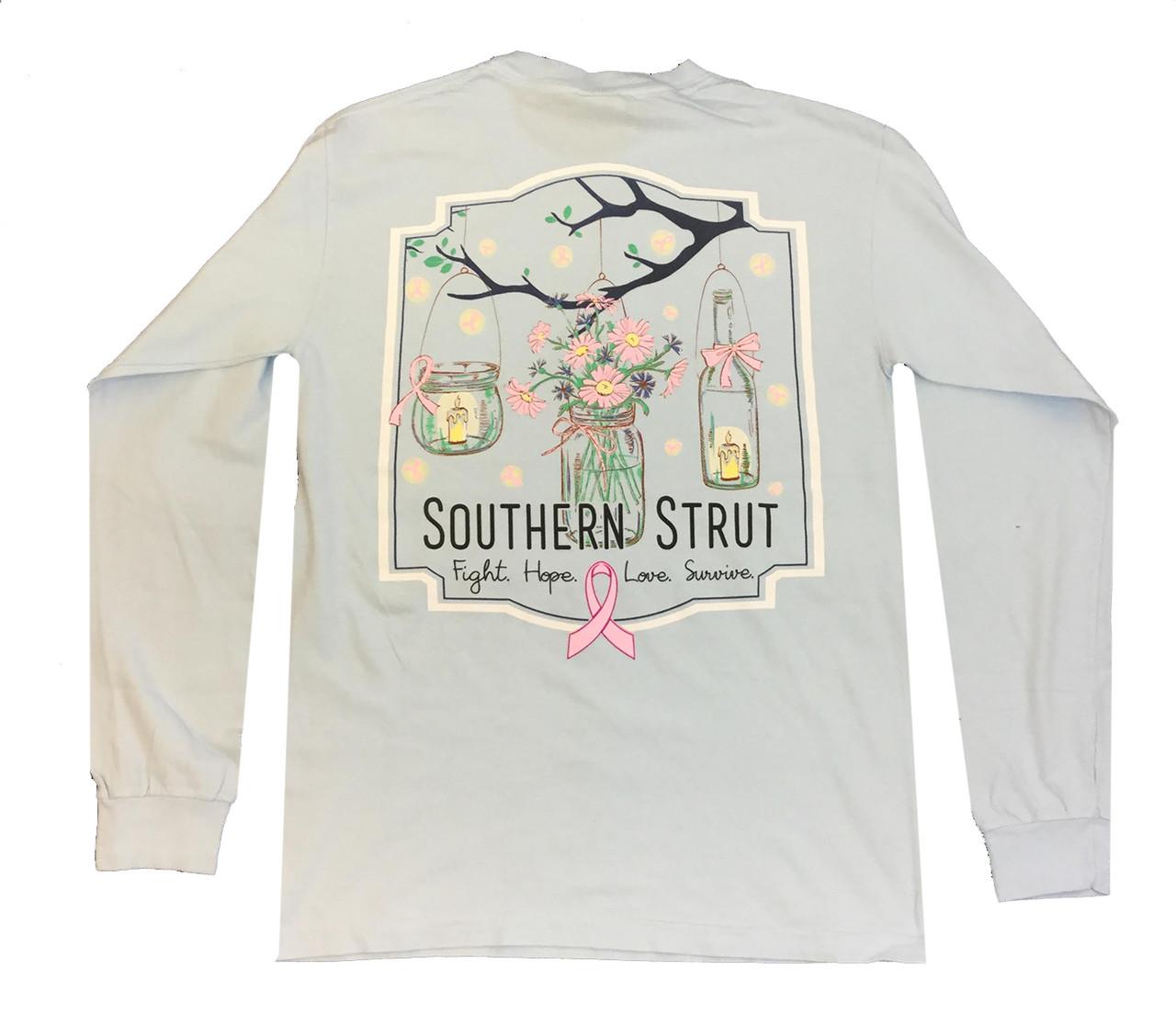 edb4f9227e9 Southern Strut Breast Cancer Awareness Mason Jars Adult Long Sleeve T-shirt  - Trenz Shirt Company