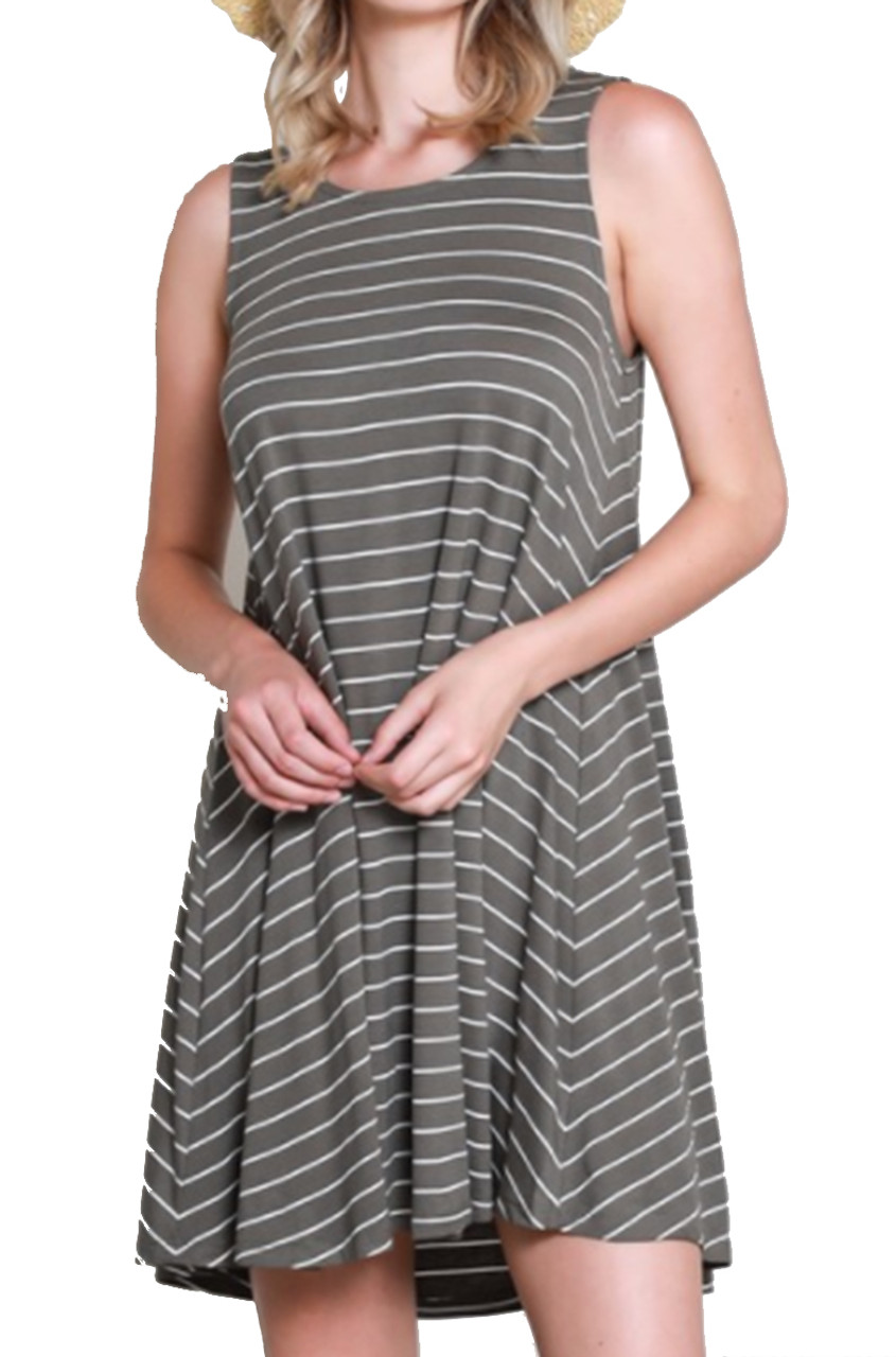 d898fceb255e45 Wishlist Womens Sleeveless Keyhole Back Striped Swing Dress - Trenz Shirt  Company