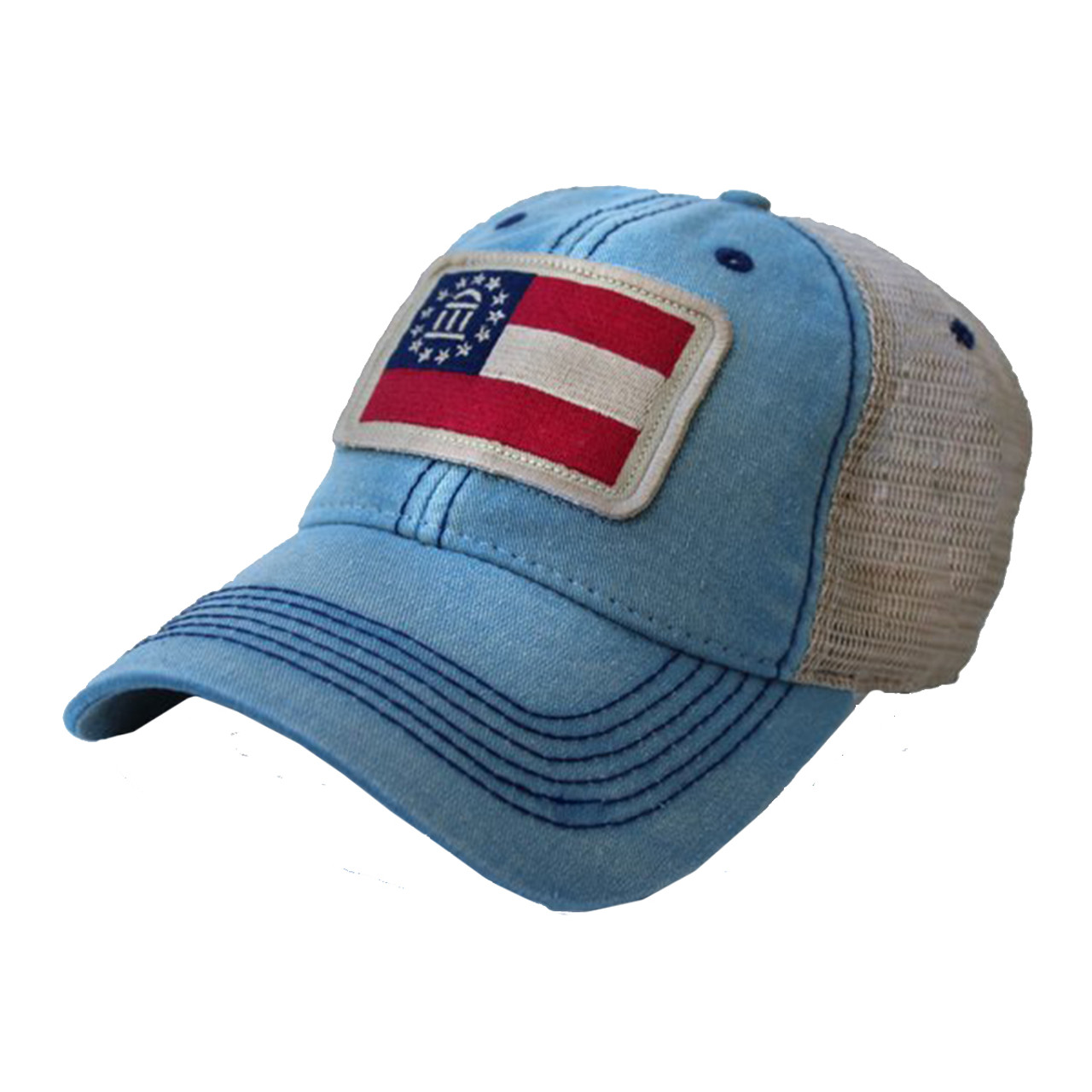State Legacy Revival Georgia Flag Patch Trucker Hat - Trenz Shirt Company 685cb275102b