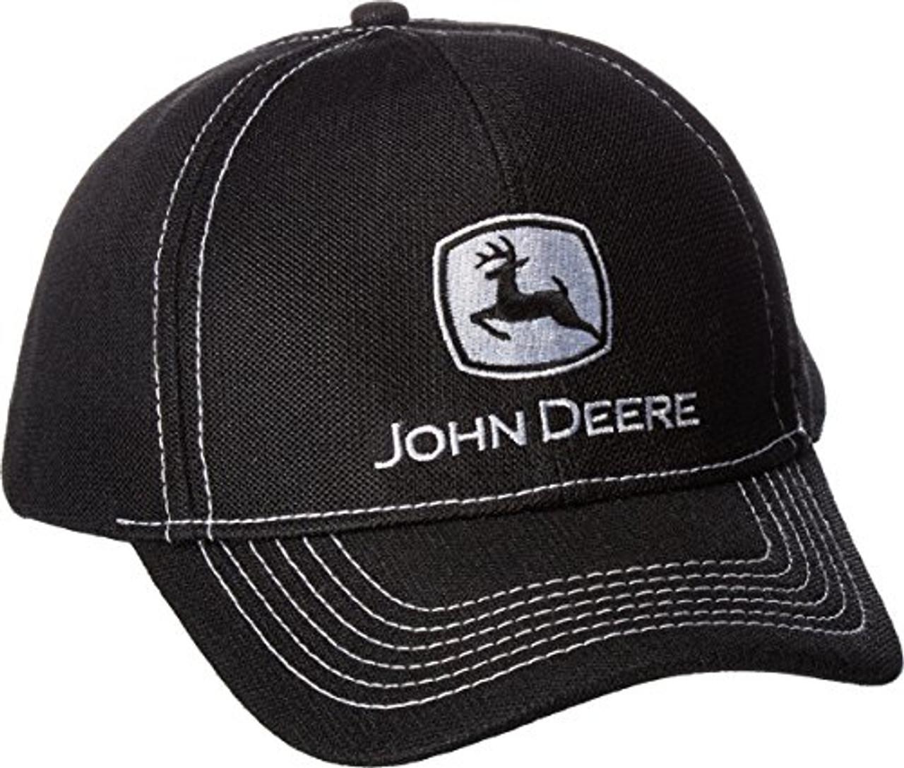 e06098e93cf John Deere Diamond Poly Mesh Black Contrast Stitch Hat - Trenz Shirt Company
