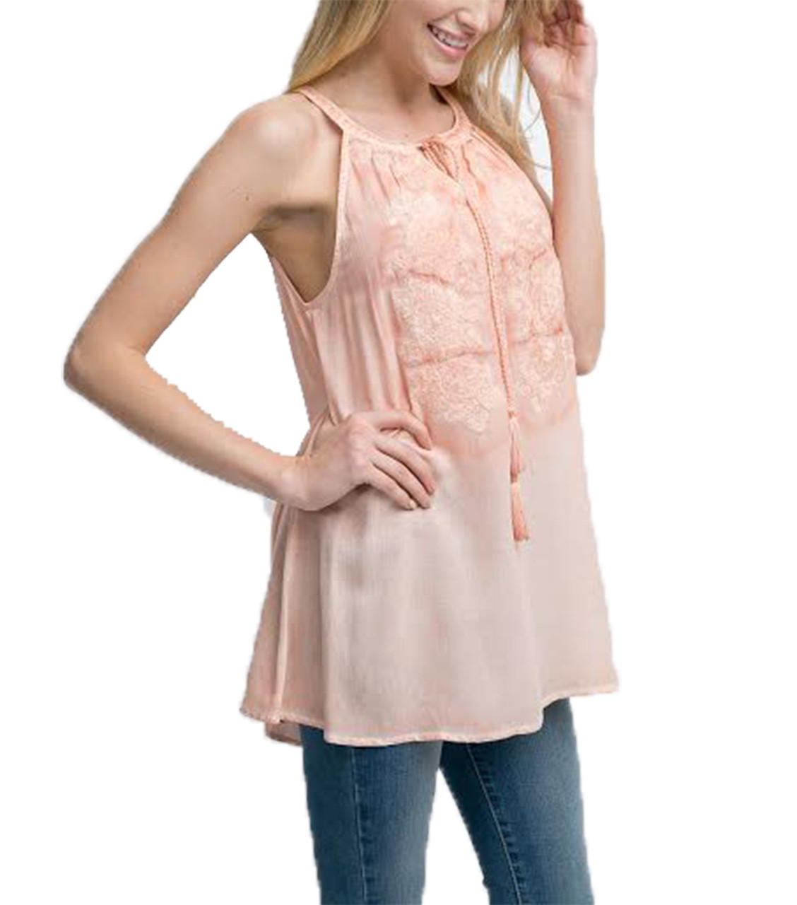 32c7f776201 Andree By Unit Ladies Embroidered Top With Tassel - Trenz Shirt Company