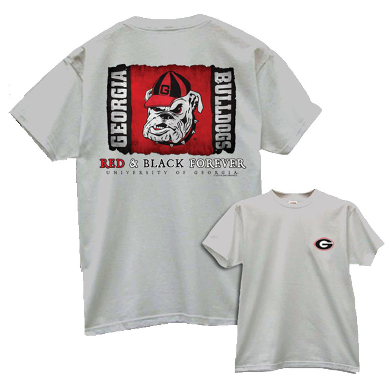 bfdf70be University Of Georgia Bulldogs Red & Black Forever T-shirt - Trenz Shirt  Company