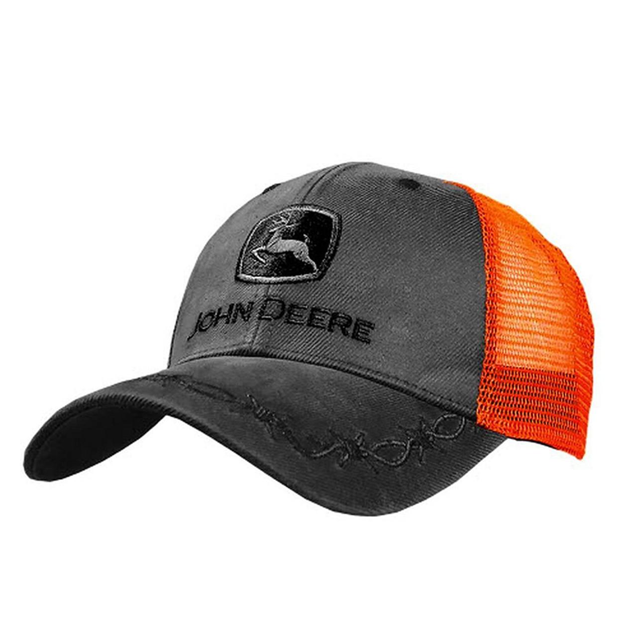 5c58cf1711f John Deere Mens Oilskin High Visibility Orange Mesh Back Embroidered Hat -  Trenz Shirt Company