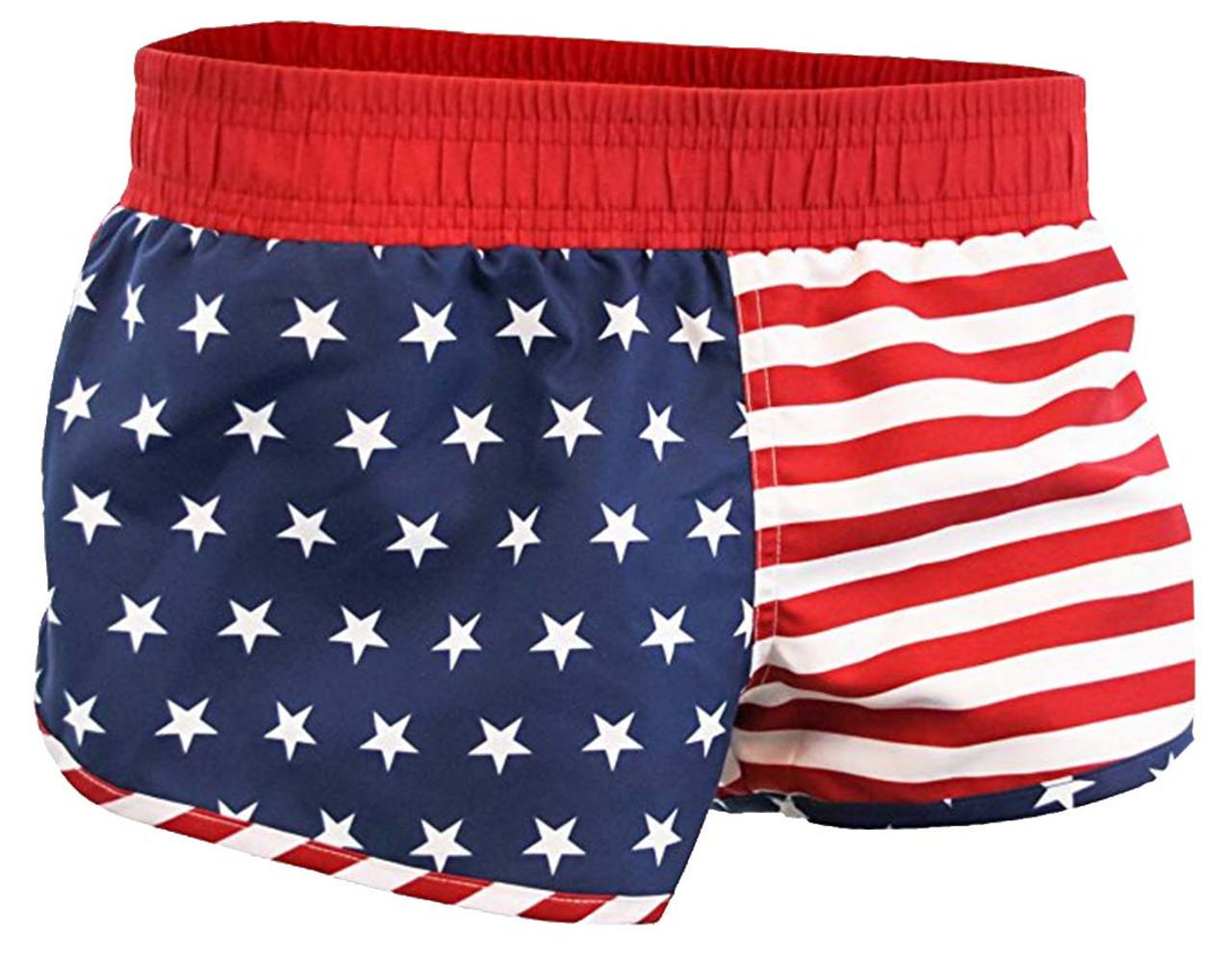 41b41a3f7b Calhoun USA American Flag Womens Printed Shorts - Trenz Shirt Company