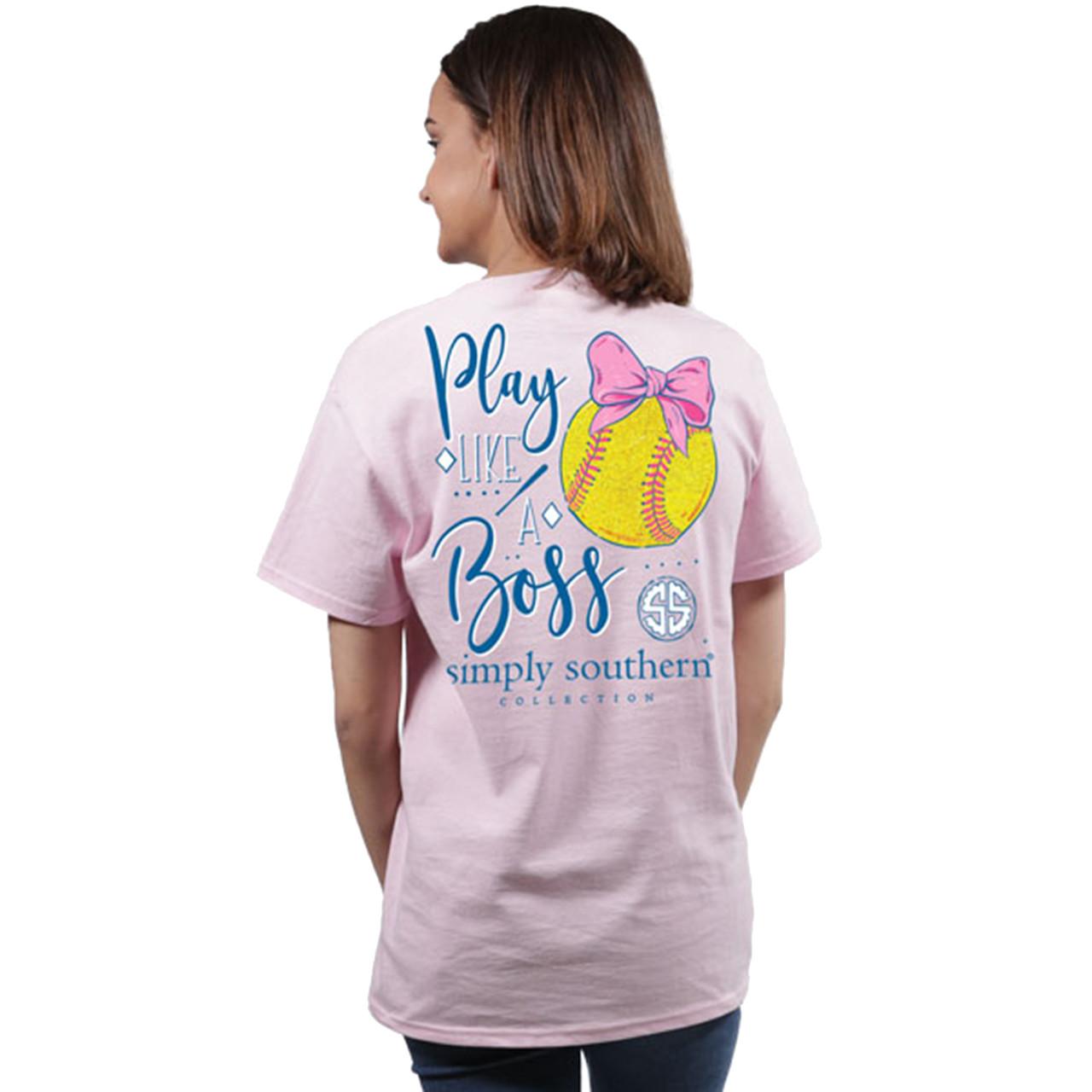 cf04223437afe5 Simply Southern Youth Preppy Softball Like a Boss Short Sleeve - Trenz  Shirt Company