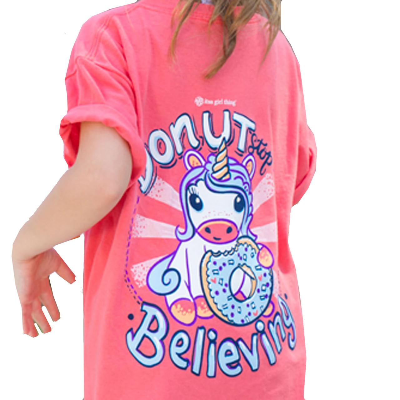 b673d8a37e5b Itsa Girl Thing Youth Donut Stop Believing Short Sleeve T-shirt - Trenz  Shirt Company