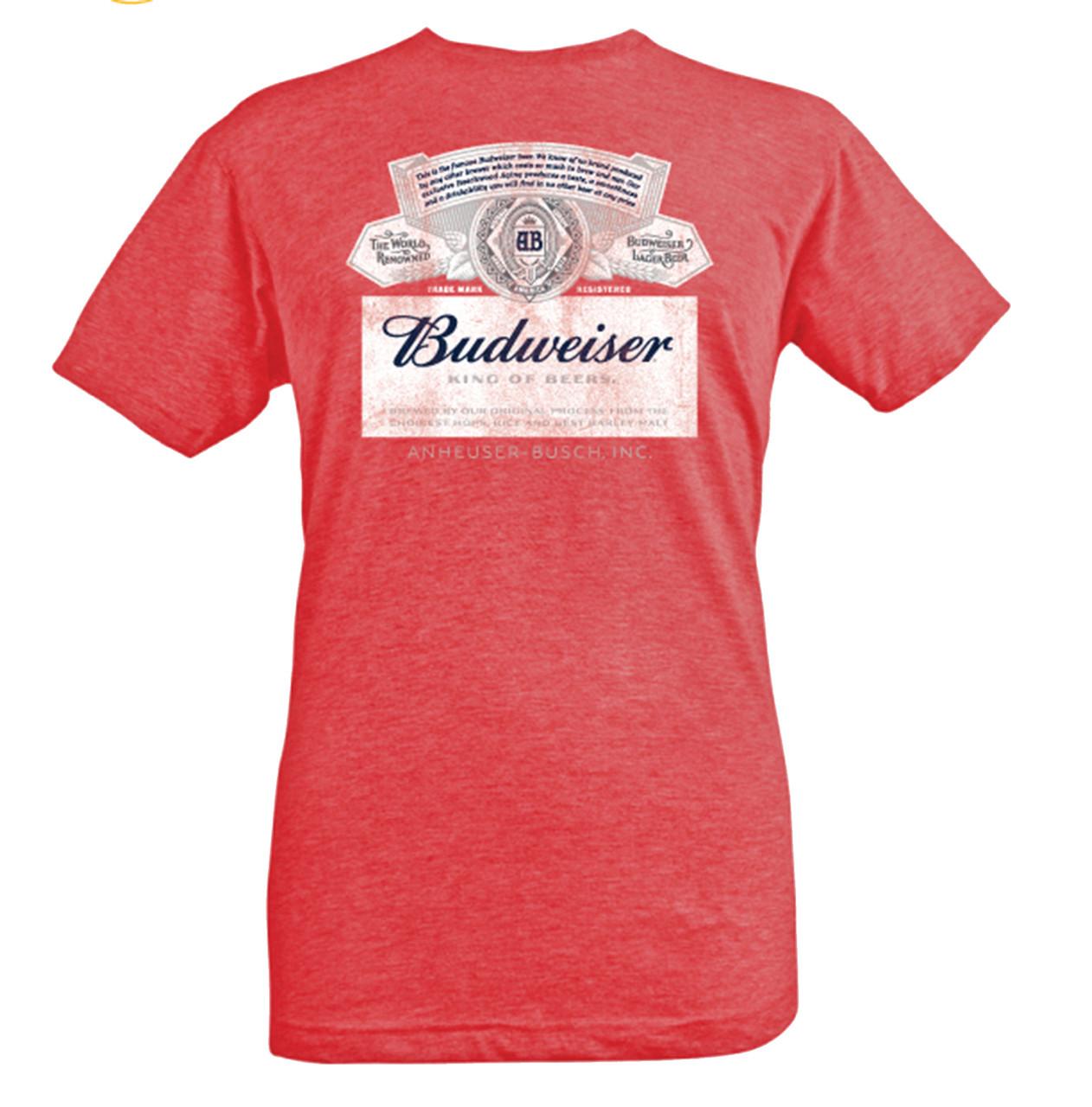 f998b817a Brew City Beer Gear Budweiser Current Label Short Sleeve T-shirt - Trenz  Shirt Company