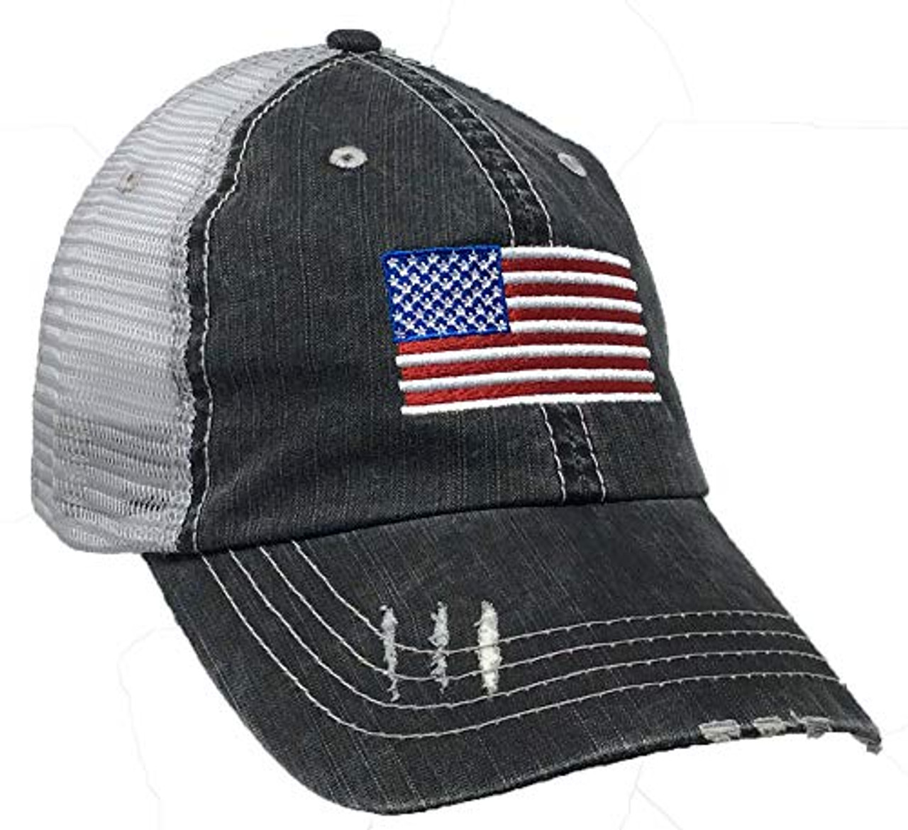 Trenz Shirt Company American Flag Women's Distressed Trucker Hat Gray