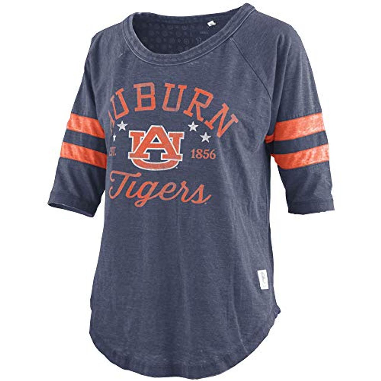 on sale d911c 7cfb0 Pressbox NCAA Womens Auburn Tigers Jade Jersey Raglan Striped 3/4 Sleeve  Shirt
