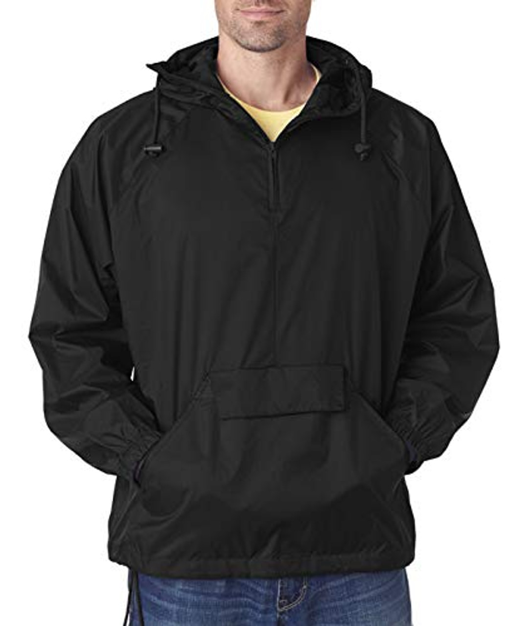 -True Navy,2XL 8925 UltraClub Mens 1//4-Zip Hooded Pullover Pack-Away Jacket