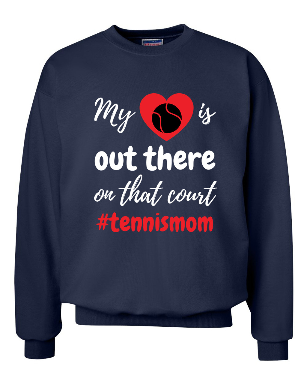 Trenz Shirt Company My Heart is Out There Tennis Mom Womens Crew Sweatshirt