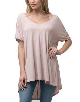 b90ed9c4098 Andree By Unit Ladies Dolman Wash Dye Tunic Top With Back Detail
