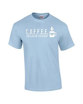 241497b3 Christ Offers Forgiveness For Everyone Everywhere C.O.F.F.E.E. Christian T- Shirt