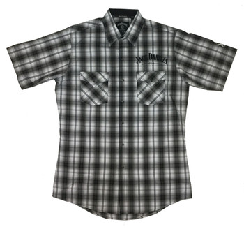 179c54d695d09d Jack Daniel s Men s Embroidered Textured Plaid Button Up Short Sleeve Shirt