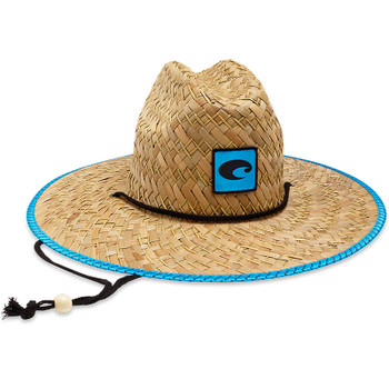 64899acfb86 Costa Del Mar Logo Straw Hat With Costa Blue Trim And Drawstring