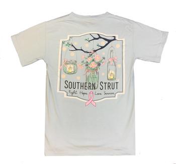 d76a47774d9 Southern Strut Breast Cancer Awareness Mason Jars Adult Short Sleeve T-shirt