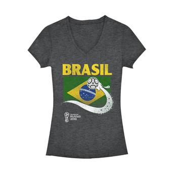 f91046754 Fifth Sun Women's V-Neck 2018 FIFA World Cup Brazil Flag Ball T-Shirt