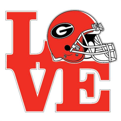 Georgia Bulldogs Love Football Helmet Decal Red