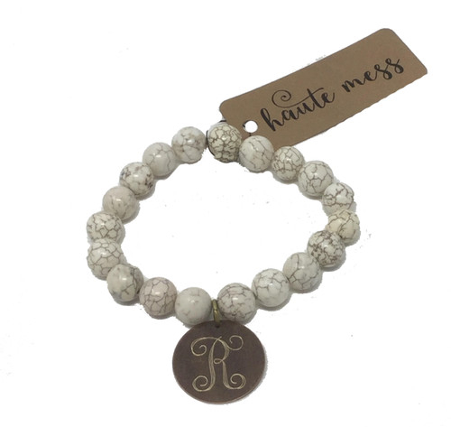 Bead Bracelet with Antique Bronze Engraved Initial