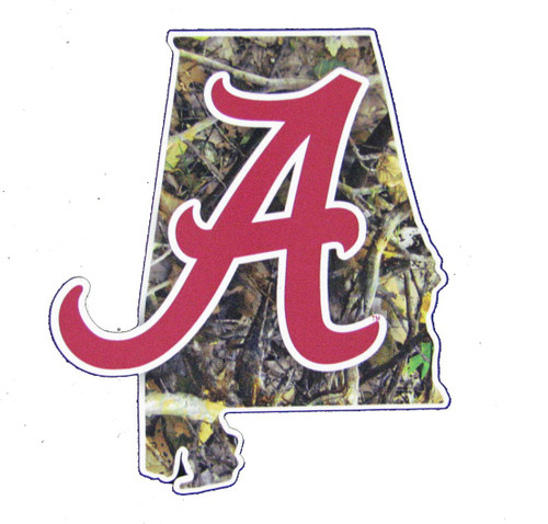 Alabama Crimson Tide Camo State Outline w/Flying A Decal