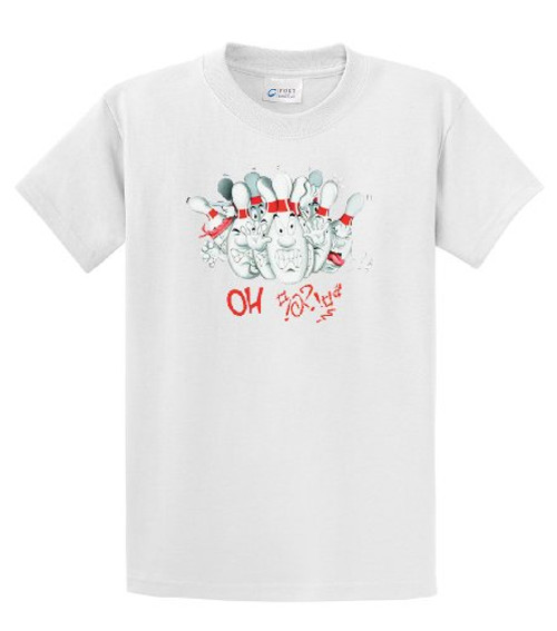 Bowling Funny Oh Shit Angry Bowling Pins Retro Tee #!&? Humorous Team League Bowl Candlepin Tee