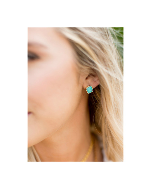 Betsy Pittard Designs Marissa Square Studs-Turquoise