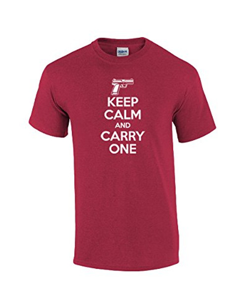 Short Sleeve T-shirt Keep Calm and Carry One Rifle 2nd Ammendment Second Concealed Weapon Shooter