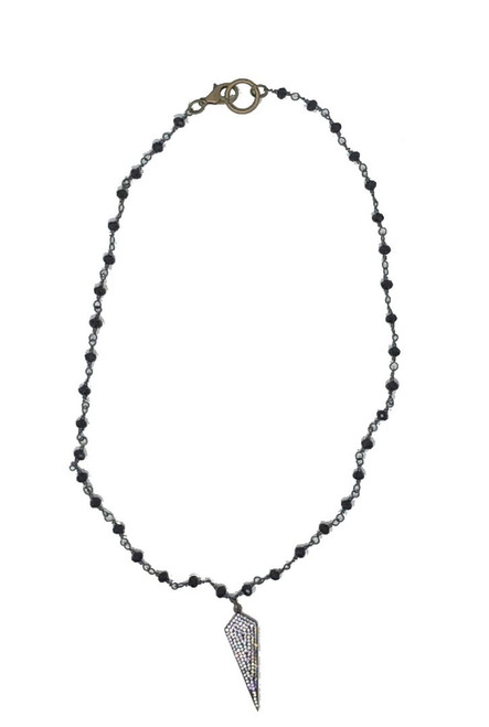 Weekend Wears Jewelry Beaded Necklace with Paved Pendant, 17 inches