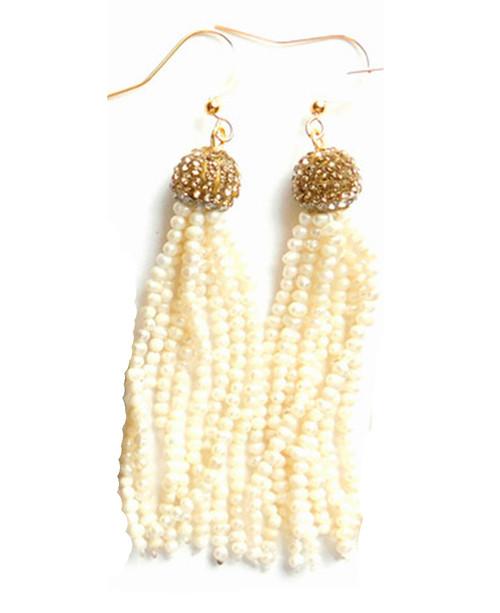 Betsy Pittard Designs Berkley Tassle Earrings-Pearl