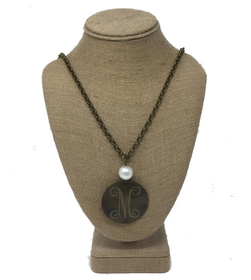 Sassy Pearl One Initial Antique Bronze Pendant Necklace