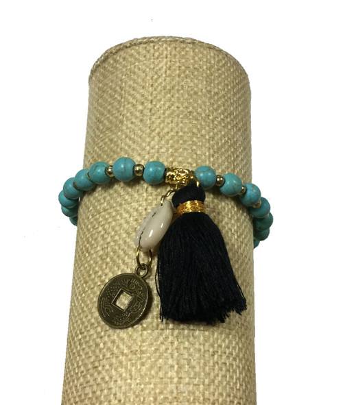 Bali Queen Turquoise and Black Shell Coin Bracelet