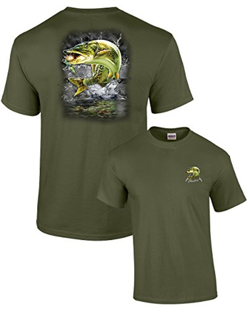Adult Fishing Tee Shirt Jumping Muskie Military