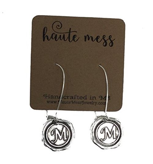 Haute Mess Antique Silver Wax Seal Engraved Initial Earrings c