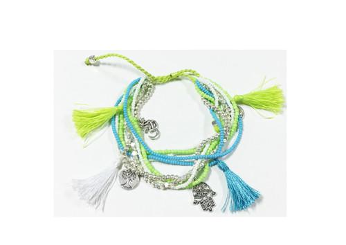 Bali Queen Turquoise and Lime Pom Pom Tassle Bracelet