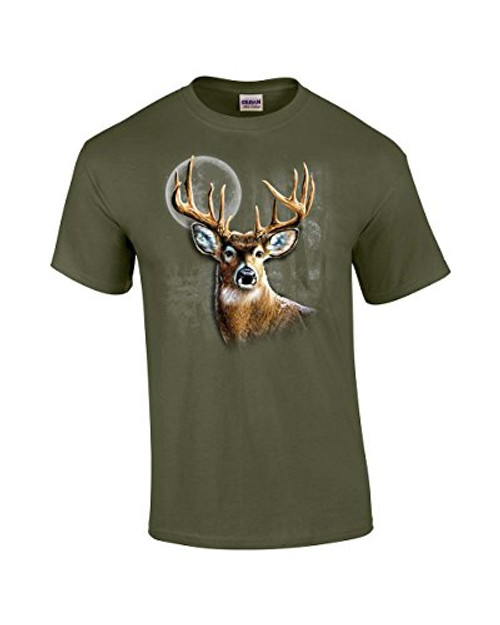 Whitetail Deer in Wilderness Adult Tee Shirt Military