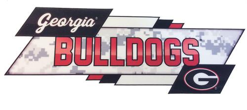 "Brass Reminders, University of Georgia 8"" x 4"" Rectangle Overlap with G Bulldogs/Team Logo Ribbon Premium Decal"