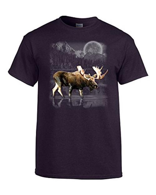 Moose Wilderness Moonlight & Mountains Tee Shirt BlackBerry
