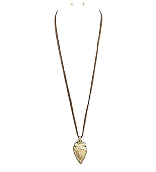 Women's 32 Metal Arrowhead Pendant Suede Necklace