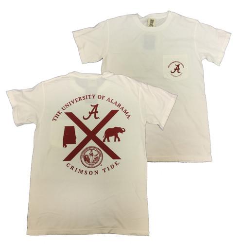 Campus Collection Alabama Symbols Crossed Short Sleeve Tee Shirt Chili S