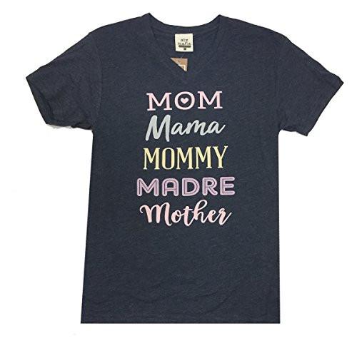 ATX Mafia Mom Mama Mommy Madre Mother Short Sleeve V-Neck T-Shirt-Vintage Navy-Large