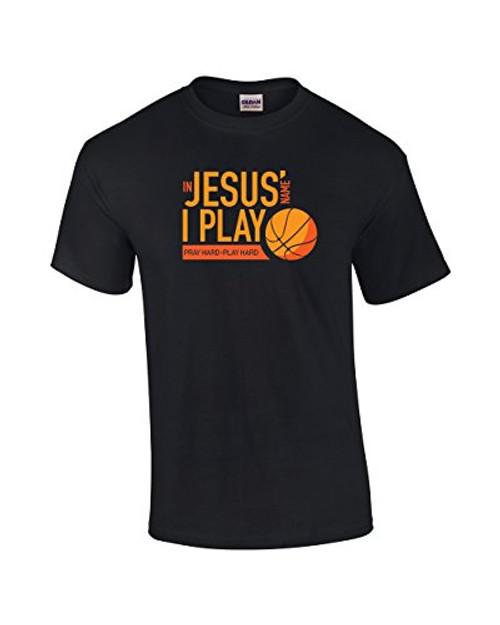 in Jesus Name I Play Christian Tee Shirt Black