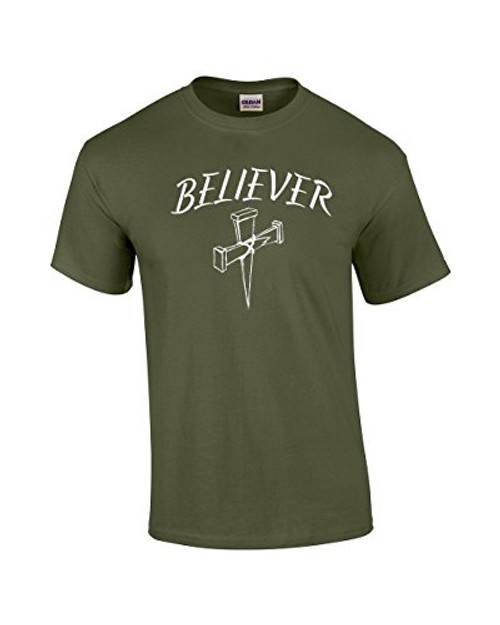 Christian Tee Shirt Believer with Cross military