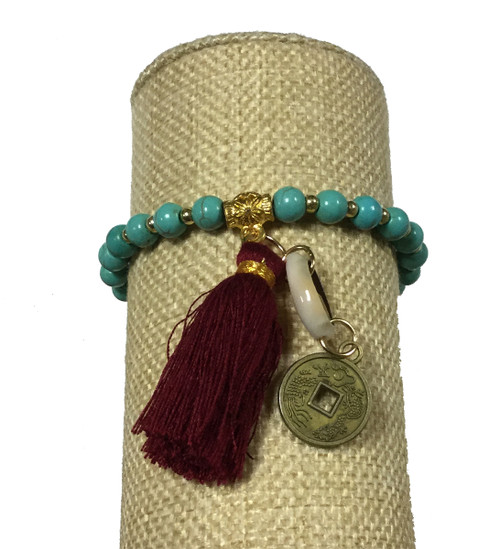 Bali Queen Turquoise and Magenta Shell Coin Bracelet