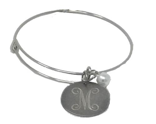 Engraved Antique Silver Adjustable Wire Bracelet